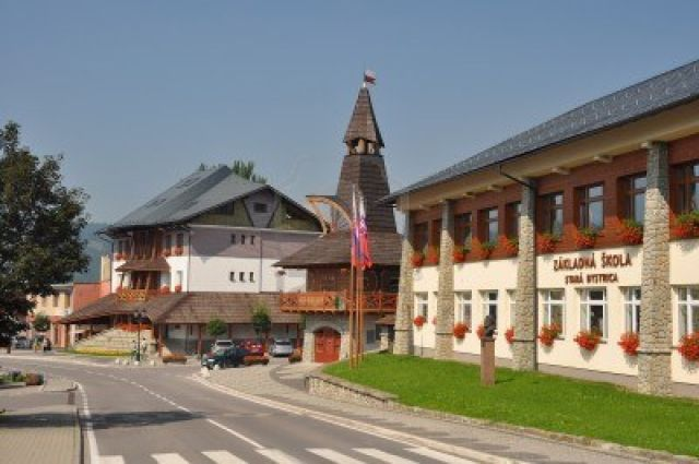 11458984-5-august-2011--stara-bystrica-slovakia--primary-school-city-council-and-bastion-tower-in-stara-bystr